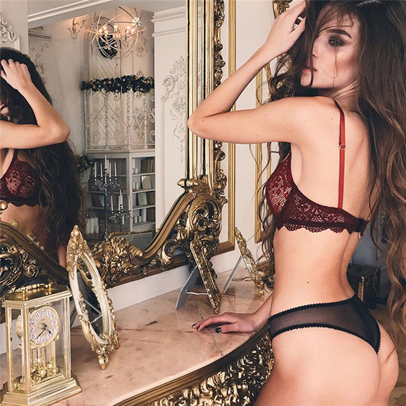 New Hot Fashion Lace Exotic Underwear Sets Clothes Sexy Bra Women Sexy Wine Red Lingerie G-string Nightwear Plus Size M-3XL