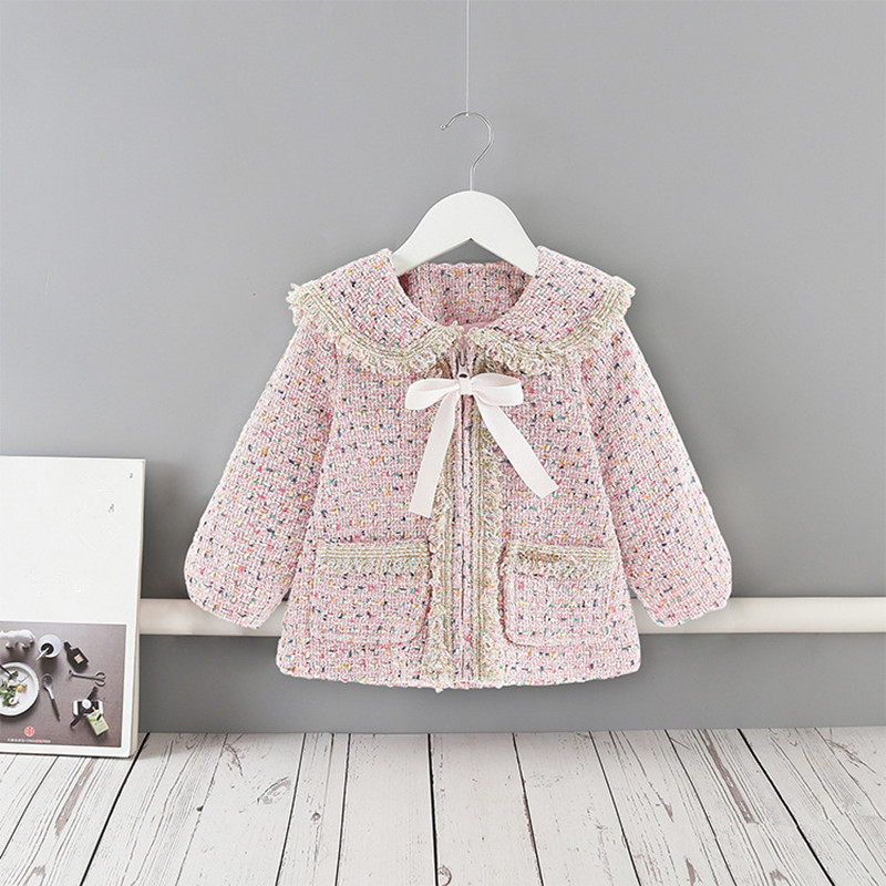 Baby Girls Coats New Autumn Lantern Sleeve Children   Trench   For Kids Outerwear Fashion Girls Winter Clothes with Big Bow
