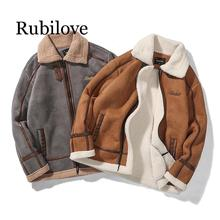 Rubilove Men Autumn Casual Warm Fleece Military Leather Jackets Parkas Men Winter Windproof Waterproof Outwear Parka Coat Jacket