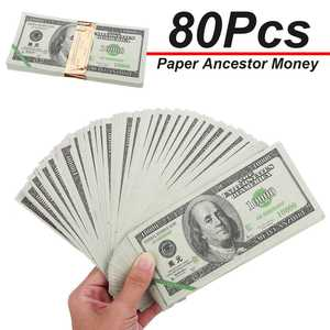 80pcs/set Ancestor Money Heaven Hell Bank Notes Dollar USD Joss Paper Ghost Money Paper Money Honoring Ancestors 15x7.5cm(China)