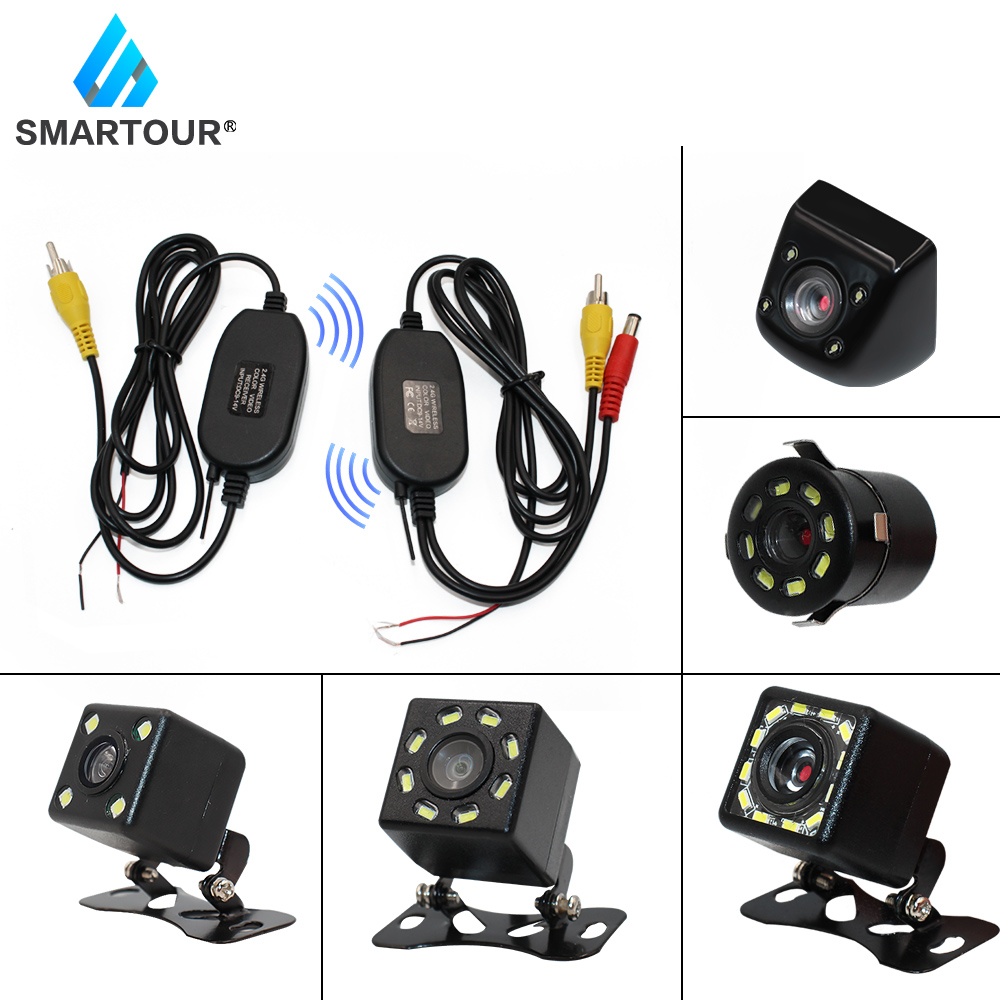 Smartour Wireless Universa Waterproof Rear View Camera With LED Car Back Reverse Camera Night Vision Parking Assistance Cameras