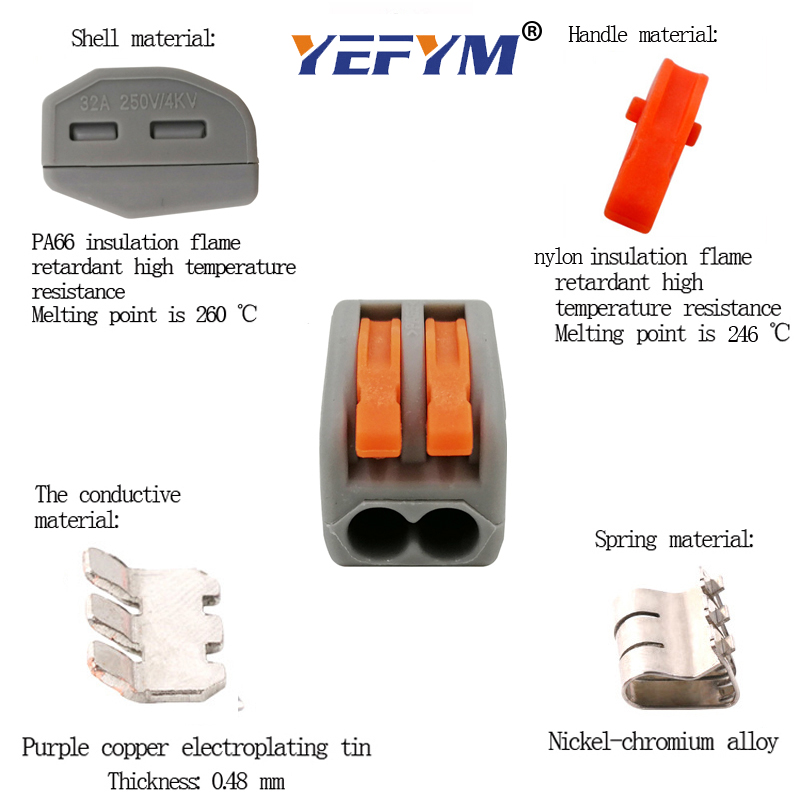 Electrical wiring terminals cage spring universal fast terminal household connectors for connection push-in terminal block