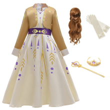 Baby Girls Dress Anna Cosplay Costume Snow Queen Elsa 2 Dresses Anna Dress for Birthday Halloween Cosplay Costume