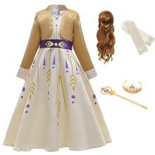 Meninas do bebê vestido anna cosplay traje neve rainha elsa 2 vestidos anna vestido para o aniversário halloween cosplay traje