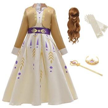 цена на Baby Girls Dress Anna Cosplay Costume Snow Queen Elsa 2 Dresses Princess Anna Dress for Birthday Halloween Cosplay Costume Child