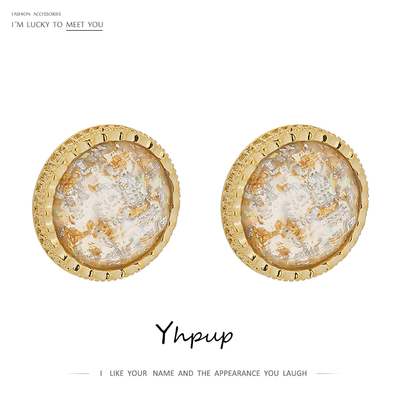 Yhpup Exquisite Round Resin Stud Earrings For Women Gold Copper Jewelry Korean Geometric Small Earrings Boucle D'Oreille Femme