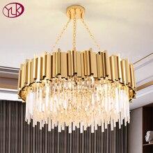 Candelabro de cristal moderno para sala de estar, lámpara de acero inoxidable dorada de lujo, cadena de decoración para el hogar, accesorio de luz led para iluminación interior
