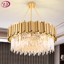 Youlaike Modern Crystal Lamp Chandelier For Living Room Luxury Gold Round Stainless Steel Chain Chandeliers Lighting