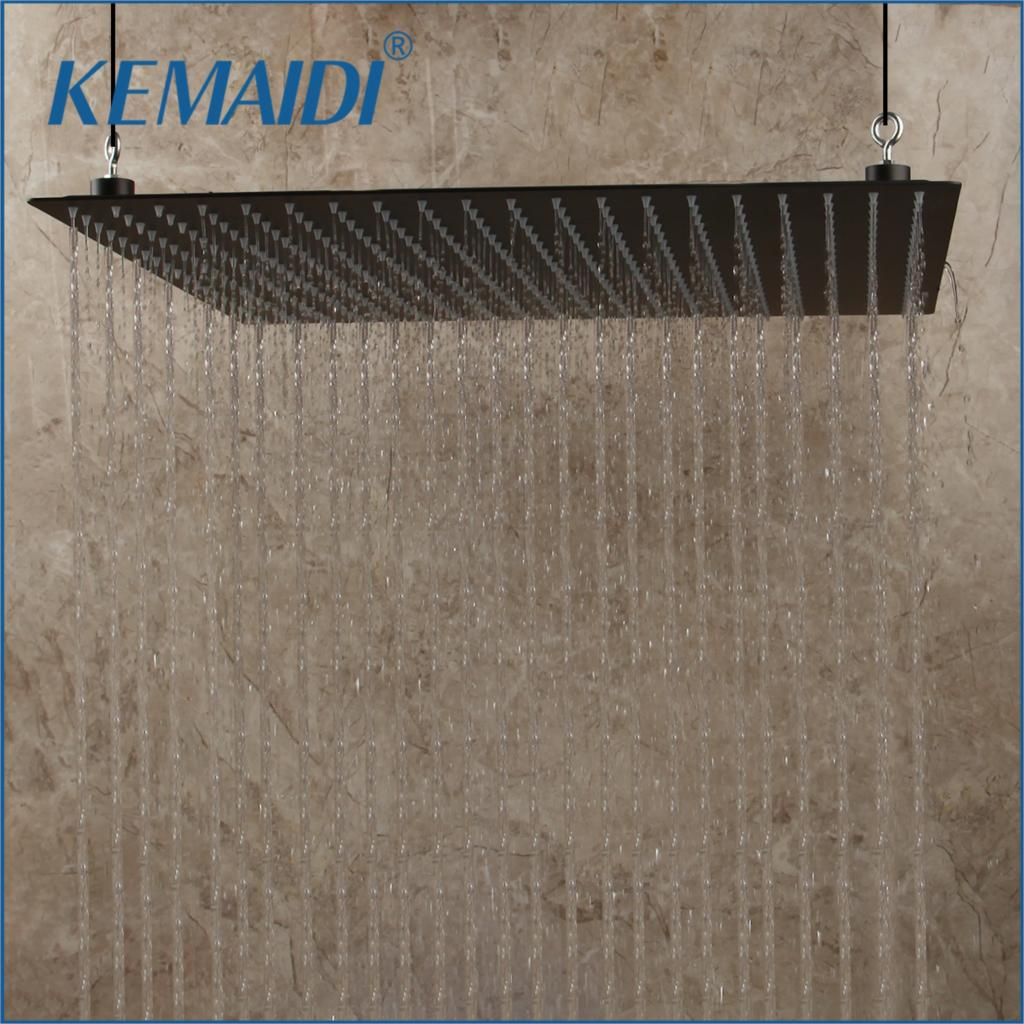 KEMAIDI 20 Inch Black Stainless Steel Bathroom Square Rain Shower Head Ceiling Wall Top Sprayer Thin High Pressure