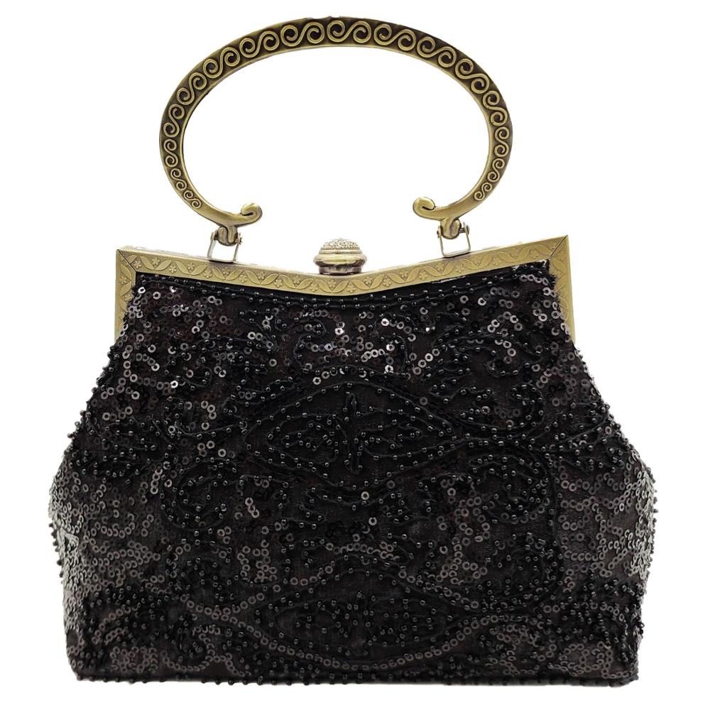 Boutique De FGG Vintage Retro Black Sequined Bronze Plated Women Beaded Clutch Evening Purse Handbag Wedding Party Bridal Bag