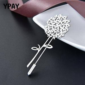 YPAY 100% oryginalna 925 Sterling Silver dmuchawiec broszka dla kobiet Korea Pins płaszcz Artdeco broszki biżuteria ślubna prezenty YMBR002