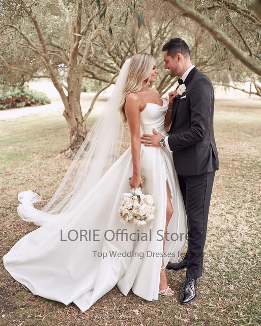 LORIE Satin Wedding Dresses Strapless A-Line Bridal Gowns Princess Custom Made High Split Wedding Gown vestido de noiva 2021 6