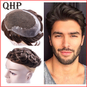 Human Hair Toupee For Men french lace With PU Wig Hairpieces Indian Natural Remy Hair 6inch Mens Toupee(China)