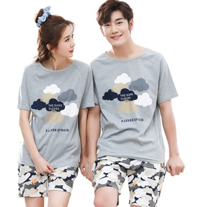 Image 1 - Serin yaz pamuk çift Pijama seti kısa severler Pijama erkekler & kadınlar Pijama Pijama eğlence ev giyim