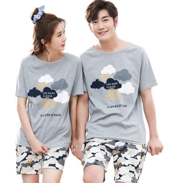 Serin yaz pamuk çift Pijama seti kısa severler Pijama erkekler & kadınlar Pijama Pijama eğlence ev giyim
