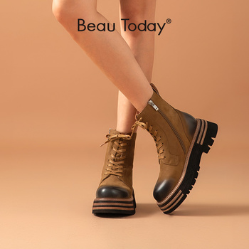 BeauToday Women Ankle Boots Genuine Cow Leather Retro Round Toe Lace Up Ladies Zip Platform Shoes Handmade 03487