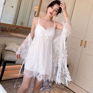 Белый кружевной комплект одежды для сна из 2 предметов, женский халат, платье для невесты, сексуальная ночная рубашка на бретелях, летний кос...