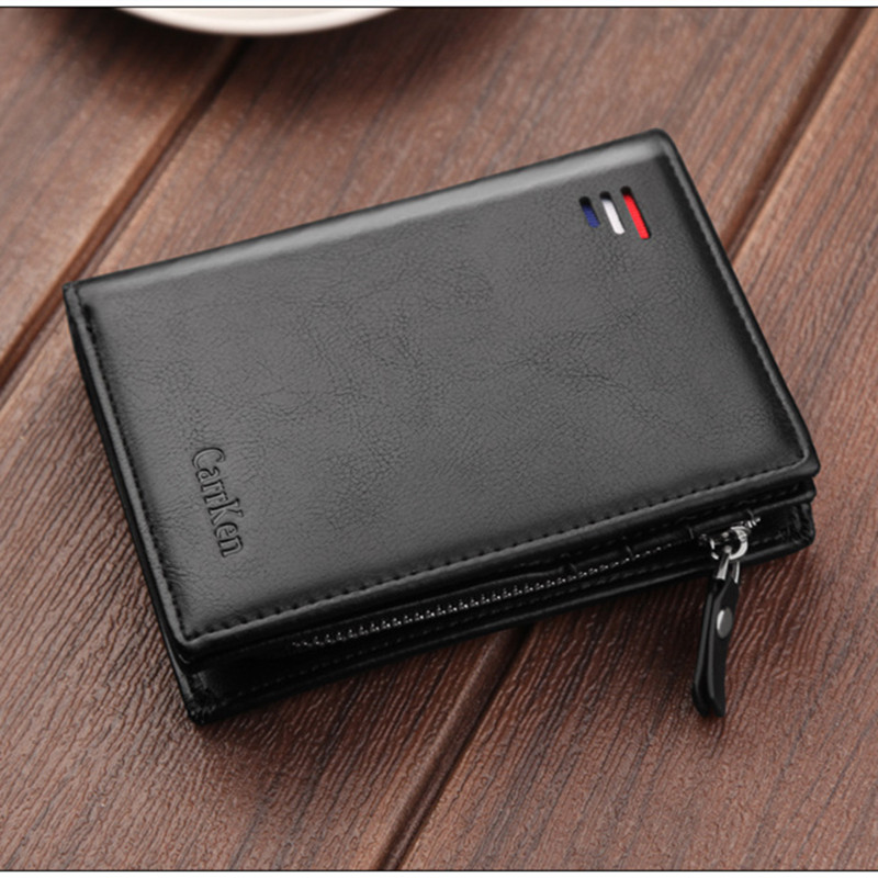New Brand Short Men Wallets Fashion New Card Purse Multifunction Organ Leather Wallet For Male Zipper Wallet With Coin Pocket