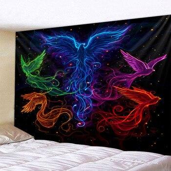 Wandbehang schwarz Phönix Magie