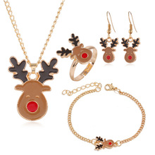 Fashion Christmas Gold Jewelry Set Cute Animal Deer Necklace/Bracelet/Earring/Ring Jewelry Sets Gift for Christmas Day 2019 New fashion christmas gold christmas tree jewelry set necklace bracelet earring ring jewelry sets gift for christmas day dropshiping