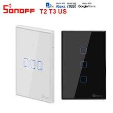 SONOFF T2 T3US 120 גודל 1/2/3 כנופיה TX 433Mhz RF Remoted נשלט Wifi מתג עם גבול עובד עם Alexa Google בית