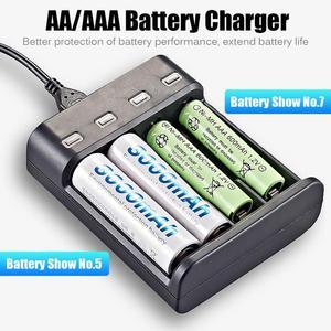 Image 4 - סוללה מטען 4 חריץ USB מטען 4 חריצים מהיר טעינה אינטליגנטי AA/AAA נטענת USB סוללה מטען 4A סוללה מטען