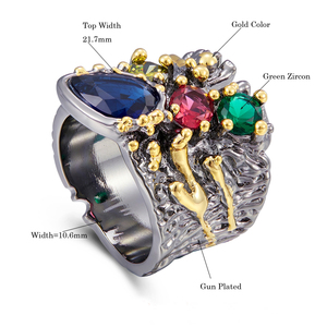 Image 5 - Large Wide Ring Blue Multi Colorful Stones Fashion Jewelry Top Jewellery Big Rings for women