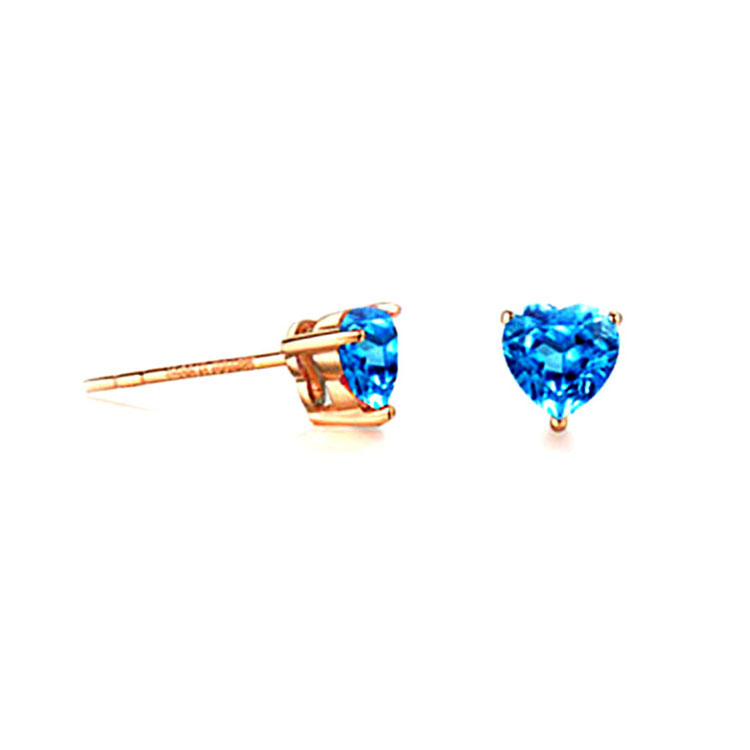Jade Angel Solid 18K Rose Gold 18ct Rose Gold Real Natural Blue Topaz Heart Shape Stud Earrings Women Jewelry