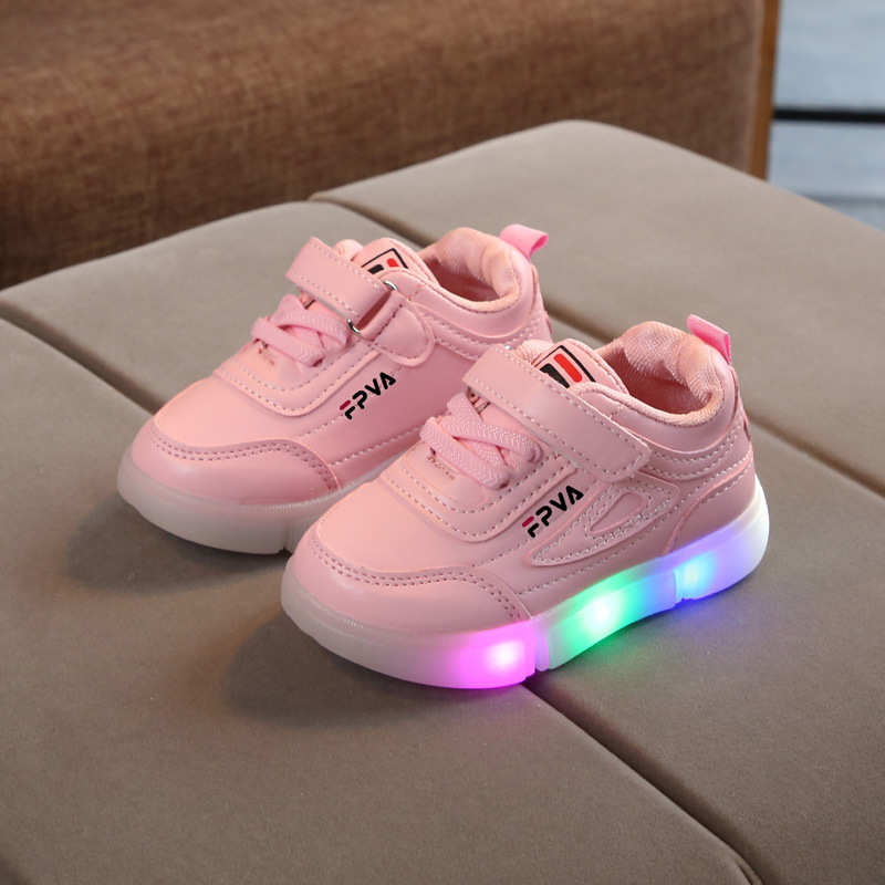 2020 New Mesh Breathable Kids Shoes Infant Tennis Comfortable Sports Baby Girls Boys Sneakers LED Lighted Children Casual Shoes