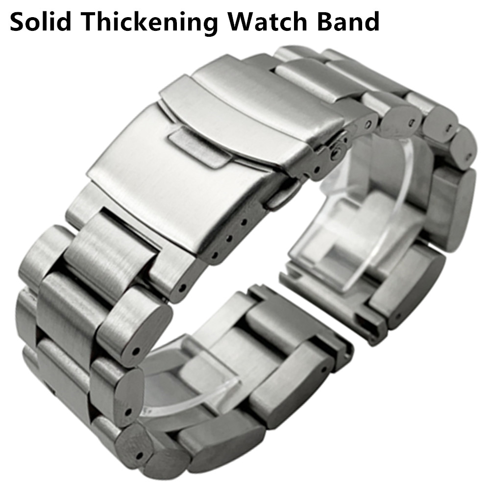 Solid Thickening 5.5mm 316L Stainless Steel Watchbands Silver 22mm 24mm 26mm Metal Watch Band Strap Wrist Watches Bracelet