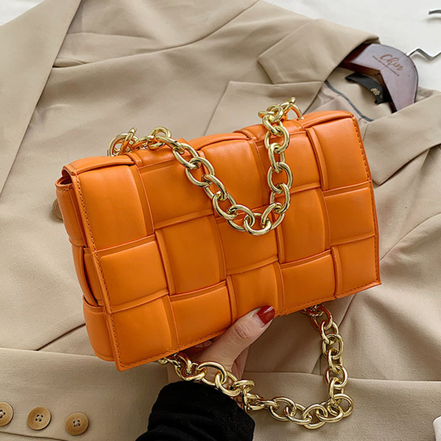 Women Crossbody Bag Weave Flap Bags For Women 2020 Quality Leather Thick Chain Shoulder Messenger Bags Female Handbag And Purse 1