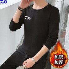 Daiwa Рыбацкая рубашка с длинным рукавом, Мужская Осенняя зимняя одежда для рыбы, сохраняющая тепло, одежда для рыбалки, походов, термо одежда из полиэстера