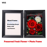Wood Photo Frame,Preserved Fresh Flower Frame,Picture Frame For Tabletop Decoration Rose,Painting Frames,Couple's Gift Flowers