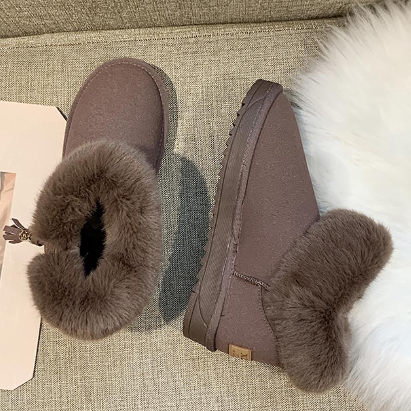 RIZABINA 5 Color Women Ankle Snow Boots Winter Keep Warm Thicken Fur Cotton Shoes Women Add Plush Casual Flats Boots Size 35-41 29
