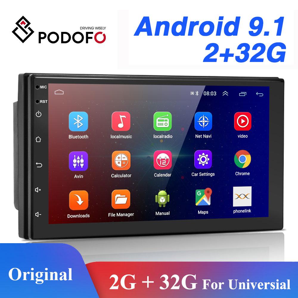 Podofo 2 DIN Android Phát Thanh Xe Hơi GPS Bluetooth Âm Thanh Nổi Wifi USB FM 2Din Tự Động Autoradio Cho VW Nissan Hyundai TOYOTA CR-V Kia