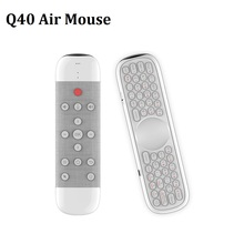 Q40 Air Mouse IR Learning Backlit Voice Remote Control 2.4G Wireless Mini Keyboard Gyroscope for Android TV Box White/Black