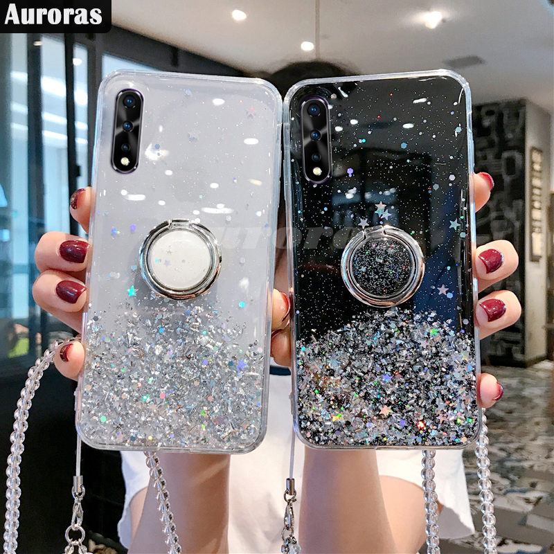 Auroras Glitter Bling <font><b>Case</b></font> For <font><b>VIVO</b></font> <font><b>V17</b></font> Neo <font><b>Case</b></font> Starry Sky Soft Full Stars Moon With Ring For <font><b>Vivo</b></font> V11 V11i V9 V15 <font><b>Pro</b></font> Cover image