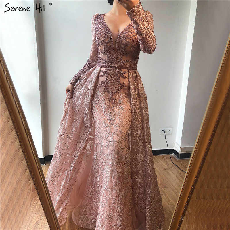 Blue Handmade Flowers Design Evening Dresses 2019 Dubai Crystal Luxury V-Neck Evening Gowns Serene Hill Plus Size LA70159