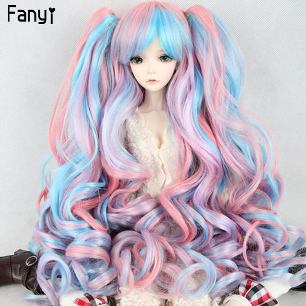 BJD <font><b>Wig</b></font> 1/3 1/4 Long Black Curly Bangs <font><b>Wigs</b></font> High Temperature Fiber for Lolit <font><b>Doll</b></font> Cosplay Toupee Hairpiece image