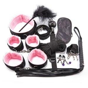 Negro 10 Uds BDSM Kits de productos del sexo erótico adultos juguetes Set de Bondage esposas abrazaderas de pezón látigo mordaza cuerda juguetes sexuales para parejas