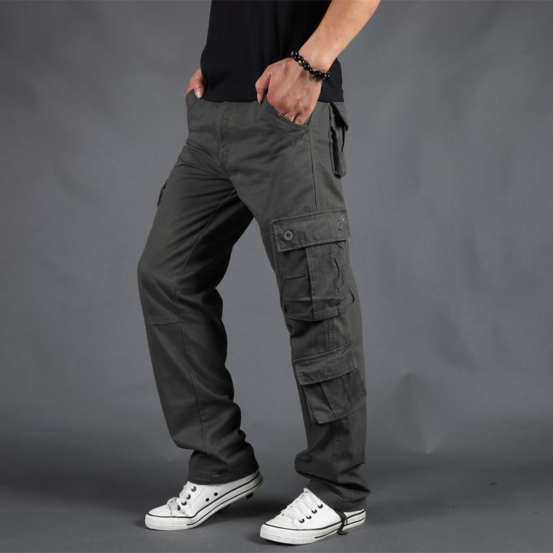 Mens Tactical Worker Safety Cargo Pants Combat Pockets Loose Long Pants Trousers