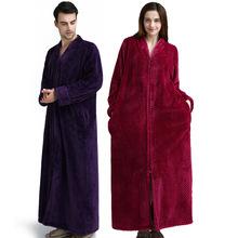 Women Men Thermal Luxury Flannel Extra Long Bath Robe Winter Sexy Grid Bathrobe Warm Kimono femme Dressing Gown Bridesmaid Robes cheap Coral Fleece Solid Ankle-Length RR1708-1 Full robes for women szlafrok damski robe sets bathrobe women