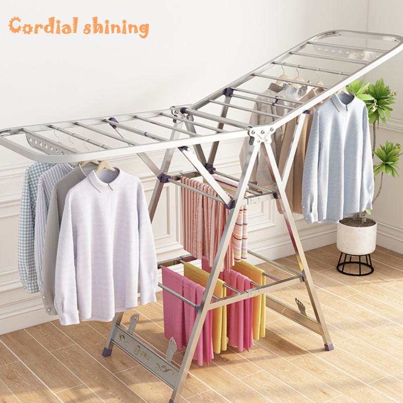 Cordial Shining Home Drying Rack Floor Folding Stainless Steel Drying Clothes Stainless Stretch Steel Quilt Balcony Laundry Rack