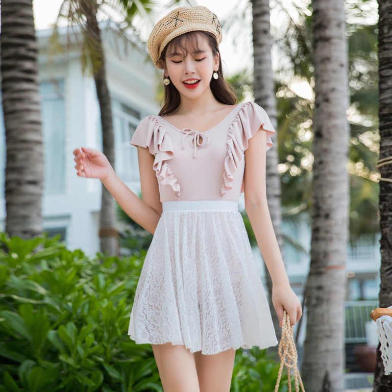 2020 Sexy traje de baño de una pieza Push Up traje de baño de mujer traje de baño sólido con encaje cubrir falda traje de baño femenino verano