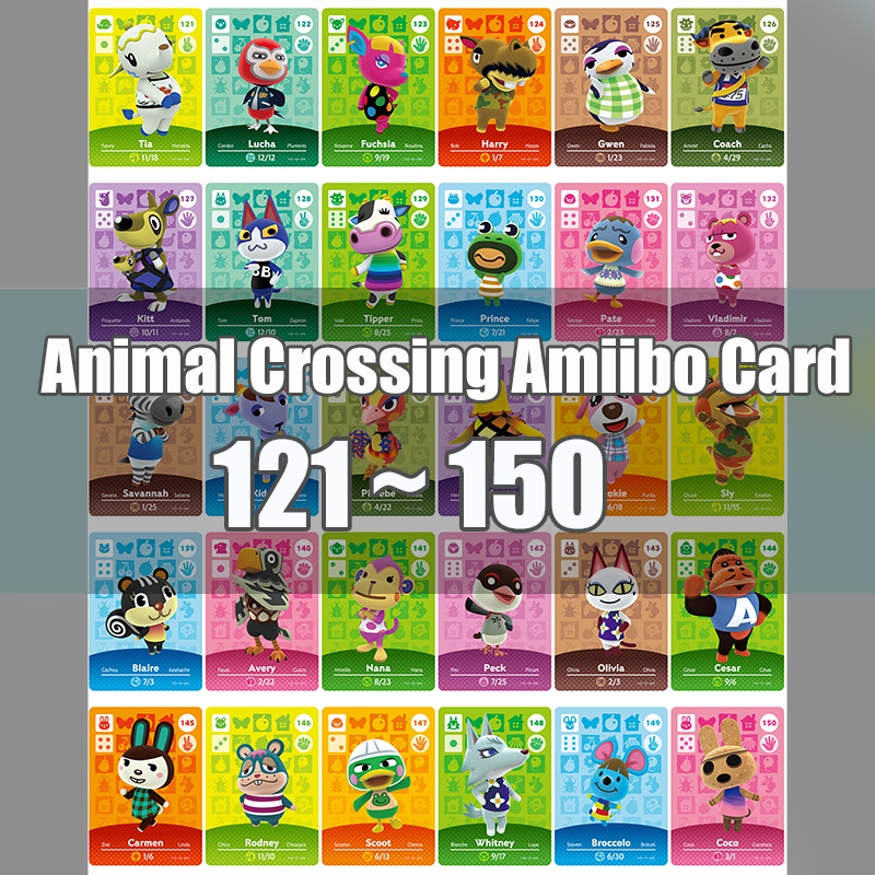 Animal Crossing Amiibo Card Animal Crossing New Horizons Game NFC Lobo Card Work For NS 3DS Game Switch Series 2 (121-150)
