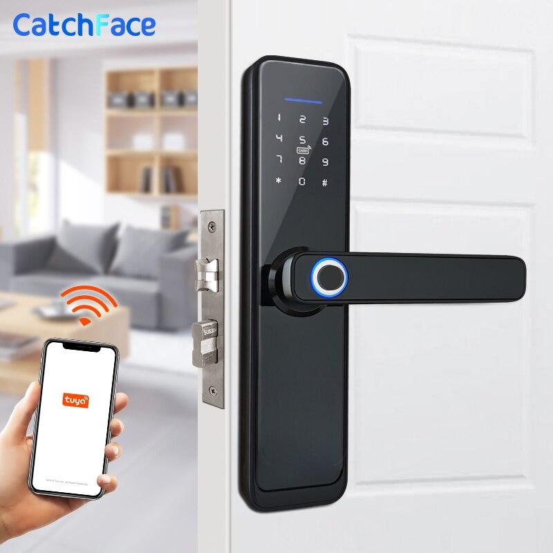 Tuya inteligente huella dactilar cerradura de puerta segura cerradura electrónica Digital con WiFi APP contraseña RFID desbloqueo para la seguridad del hogar Control de Acceso solenoide de montaje de liberación 12V 0.4A Puerta de cierre electrónico