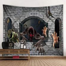цена Halloween tapestries, demon demon, polyester stamp tapestries climbing into the house онлайн в 2017 году