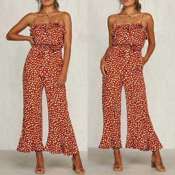 Sexy Sleeveless Polka Dot Jumpsuit Spaghetti Ruffles Jumpsuits Women Wide Leg Rompers Overalls Beach Clothes wide leg polka dot cami jumpsuit
