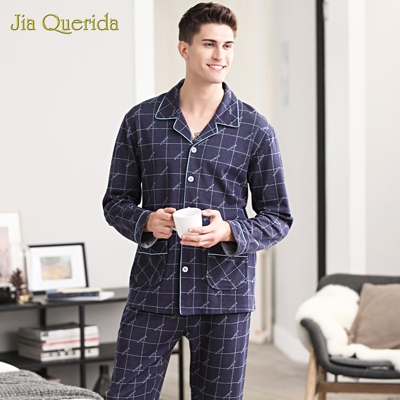 Fall & Winter New Pajamas Mens Homewear 100% Pure Cotton Home Clothing Loose Size Leisure Sports Suit Long-sleeves Men Sleepwear