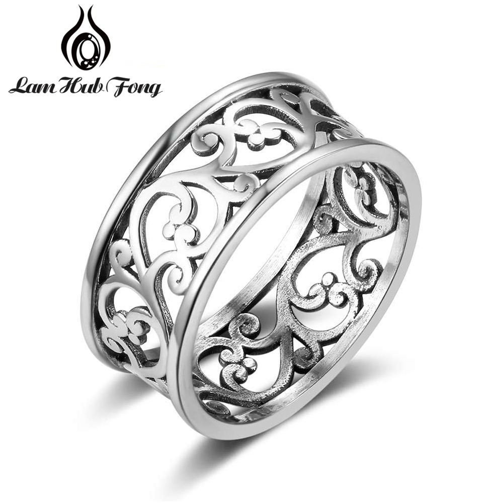 Vintage Style Wide Ring Wide Vine Pattern Female Finger Ring Fashion Accessorie Jewelry Gift for Women Girlfriend (Lam Hub Fong)